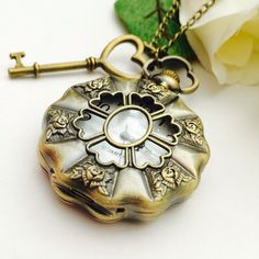 Love key Steampunk Pocket Watch necklace by Victorianstudio, $19.96