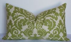 Designer Waverly linen 12x20 lumbar Throw pillows Citrine green medallion