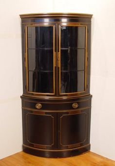 243: DREXEL TRAVIS COURT BLACK CORNER CHINA CABINET : Lot 243 Pretty Like  The Drawers