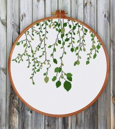 Green Leaves Green vines cross stitch pattern easy cross stitch kit for beginner. Designed by ritacuna thuhadesignGreen vines cross stitch pattern easy cross stitch kit for beginner. Designed by ritacuna thuhadesign Cross Stitching, Cross Stitch Embroidery, Embroidery Patterns, Hand Embroidery, Stitching Patterns, Modern Embroidery, Crochet Patterns, Cross Stitch Tree, Simple Cross Stitch