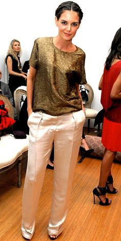 Metallic done right! Katie pairs her top with neutral trousers, both by Lanvin.