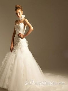 Glamorous A-line Sweetheart Floor-length Ruffles Organza Hall Wedding Dresses