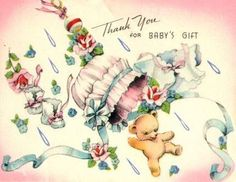 Vintage baby thank you note