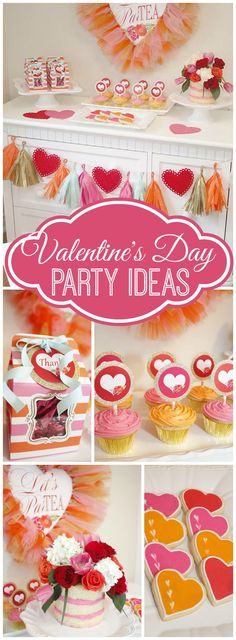 How pretty is this sweet Valentine's Day celebration?! See more party ideas at CatchMyParty.com!