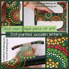Dot painted wooden letters by ArtAndBeing on Etsy
