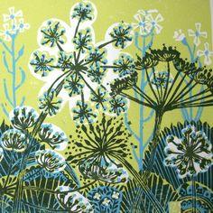 Parsnip Flowers lino print.