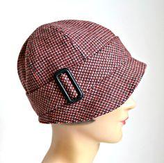 1920er Jahren Cloche Hut in rot und Schwarz Wolle - rote und schwarze wolle Cloche Hut - kundenspezifisch konfektioniert