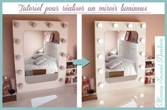 DIY Miroir lumineux maquillage pro - Vanity mirror with lights / Hollywood vanity mirror Diy Vanity Table, Hollywood Vanity Mirror, Ikea Office, Make Up Storage, Mirror With Lights, Little Houses, Dream Bedroom, Logs, My Dream Home