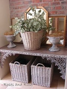 Look closely... see the iron corner pieces... how great a decoration they make on an old shelf. Roses and Rust: Monday Musings - Hearth and Home