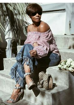 Black Girl Fashion, Cute Fashion, Fashion Beauty, Fashion Looks, Casual Outfits, Cute Outfits, Jean Outfits, Dress Up Jeans, Cooler Look