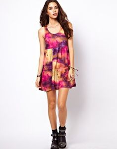 ASOS Smock Dress In Star Gazer Print With Tiers at asos.com