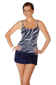Caribbean Joe Women's Swimwear Peasant Tankini Top. Color mesmerize print. This womens swimwear top has padded cups and a shelf bra. Mix and match bathing suits. Each piece is sold separately. Style # 862792. Caribbean Joe Women's Swimwear Peasant Tankini Top.
