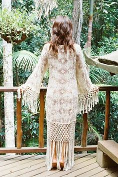 Possibly the most beautiful kimono I've come across Pretty lace, fringe & bell sleeves. Wow.