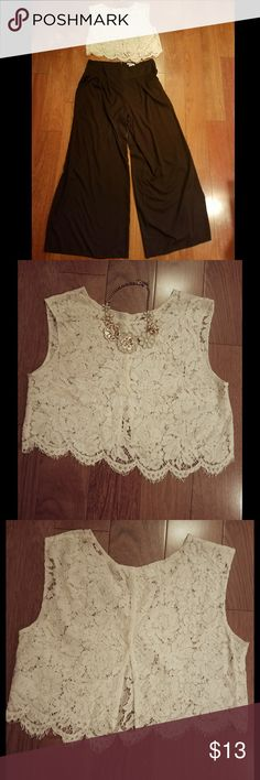 Lace Crop Top White Sleeveless lace crop top 143 Girl Tops Crop Tops