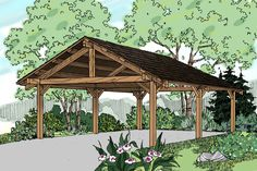 Traditional carport can house 2 cars, and has an 8' clearance to the bottom of the beam.