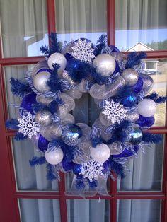 Blue,White, And Silver Snowflake Deco Mesh Christmas Wreath