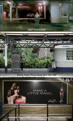 In HbP, Harry peered out the window of a railway station platform café and saw Dumbledore standing on the opposite platform. Behind the Professor was a Devine Magic perfume billboard. Exterior railway café scenes were shot at Surbiton Station (Site #20 of http://HarryPotterPlaces.com/book-one/). As an homage to HbP, Diagon Alley designers installed a Devine Magic perfume billboard in the King's Cross Station entrance for the Hogwarts Express ride. #HarryPotterForever #Potterheads #Hogwarts