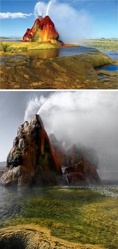 Fly Geyser (Nevada, US)  These look as if they were taken on another planet, or at least on the set of a new and very expensive science fiction movie. Yet these pictures are of the Fly Geyser which is very much of planet earth (Nevada, US to be exact). The geyser can be found in Hualapai Valley near Gerlach. It is a little seen phenomenon as the land upon which it sits is private. It can be seen from State Road 34 but unless you have permission the view from a distance is all you should…