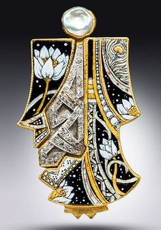 "Pendant   Marianne Hunter. ""Kabuki Kachina Stepping Softly"". 24 and 14k gold, Argentium silver, Grisaille Enamel w/24kt & .999 Silver Foils, Pearl, Antique Diamond & Platinum, Ap 1.25ct Diamond"