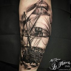 Sailing ship tattoo by Sami Haataja @ La Muerte Ink