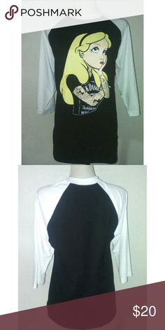 Tatted Alice Baseball Tee Oversized tatted Alice. Size Large in the photo. 3/4 arm length. 100% cotton. Tops