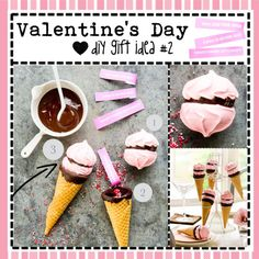 You will need: - Sugar cones - Meringue cookies - Melted chocolate - Nonpareils - & the secret message What to do: Cover the bottoms of two meringue cook. Valentines Food, Valentine Day Crafts, Fabric Roses Diy, Holiday Themes, Holiday Ideas, Sugar Cones, Meringue Cookies, Valentine's Day Diy, Diy Makeup