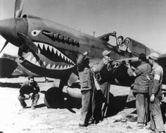 "Curtis P-40 ""Warhawk"" getting ready to go attack the Japanese, after the bombing of Pearl Harbor."