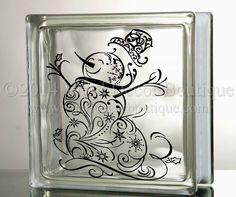 Snowman Filigree Glass Block Decal Tile by VinylDecorBoutique, $5.00