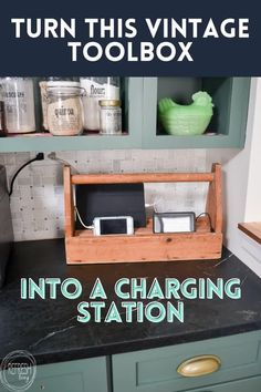The perfect vintage update to your home that has been up cycled into a DIY charging station. Storage Hacks, Diy Storage, Organizing Your Home, Organizing Ideas, Organization, Kitchen Cabinet Inspiration, Painting Shower, Cube Shelves, Best Ikea
