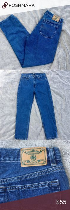 Vintage Tommy Hilfiger high waisted Mom jeans Vintage Tommy Hilfiger high waisted Mom jeans. They're dark wash with a tapered leg. Excellent condition. Material is really sturdy. Tommy Hilfiger Jeans Skinny