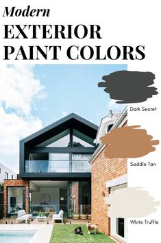 The perfect modern paint color combinations for your home's exterior. These color schemes complement each other perfectly, use them to paint your home's exterior with confidence! Best House Colors Exterior, Modern House Colors, Exterior Paint Color Combinations, Modern Paint Colors, Interior Design Color Schemes, Best Exterior Paint, Modern Color Schemes, House Paint Exterior, Exterior Paint Colors