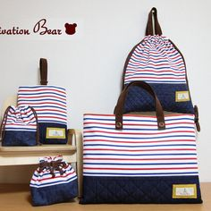 オーダーOK!入園グッズ5点セット☆ Striped Bags, Linen Bag, Purse Styles, Simple Bags, Purse Patterns, Market Bag, Kids Bags, Zipper Bags, Baby Sewing