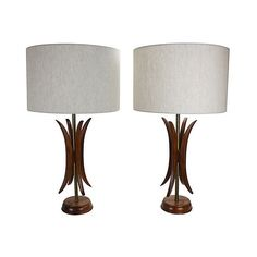 Pre-Owned Mid-Century Modern Sculptural Lamps S/2 ($549) ❤ liked on Polyvore featuring home, lighting, table lamps, brown table lamps and brown lamps