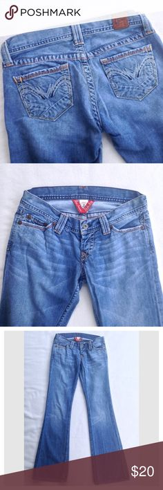 "Lucky Brand Lil Maggie Button Fly Jeans Distressed Lil Maggie jeans by Lucky Brand. One button fly. Great distressing. Excellent used condition. Cool and unique back pocket design!  Flat lay measurements: waist 14 1/2"", inseam 32"". Lucky Brand Jeans"