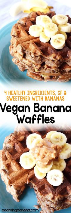 Soft, chewy waffles made with just 3 required ingredients! Your new favorite healthy waffle recipe, these vegan banana waffles are gluten free and perfect to customize with any flavors and toppings.
