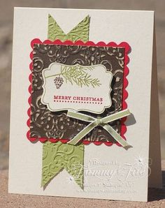Tags til Christmas, Early Espresso Core'dinations cardstock,   Scallop Square Duos die & Lacy Brocade embossing folder. Thanks Tammy!