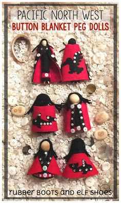 easy instructions to make Pacific NorthWest Indigenous button blanket peg dolls Aboriginal Education, Indigenous Education, Indigenous Art, Aboriginal Art, Art For Kids, Crafts For Kids, Arts And Crafts, Nativity Crafts, Feather Painting
