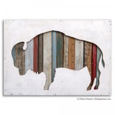 "Dolan Geiman American Bison Collection 12"" x 18"" x 2"" acrylic, salvaged wood and found objects"