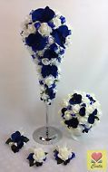 Cream white foam roses dark blue orchid flowers wedding bouquet set