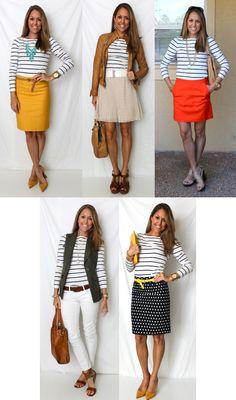 J's Everyday Fashion- different ways to wear the same striped shirt. Visit jseverydayfashion.com