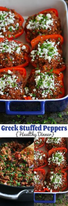 Greek Stuffed Peppers…An easy, healthy dinner your family will love! 226 calories and 6 Weight Watchers PP Greek Stuffed Peppers, Stuffed Peppers Healthy, Clean Eating, Healthy Eating, Easy Healthy Dinners, Healthy Recipes, Feta Cheese Recipes, Chives Recipes, Greek Recipes