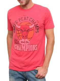 "Chicago Bulls ""three peat champs"" vintage inspired tee  $34  www.junkfoodclothing.com  #NBA"