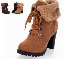 Women Short Ankle High Heel Boots Snow Boots Winter Martin Fashion Shoes Shoes Heels Hot Boot