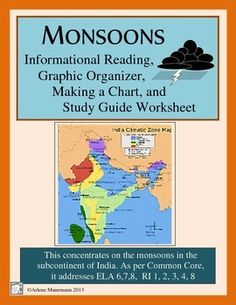 The subcontinent of India is dependent upon, as well as damaged by, the seasonal monsoons.  This short unit takes students through the definitions and causes of monsoons - and mostly the effects on the area.  Included are --  map and introduction board page-  informational reading - one page-  graphic organizer for the reading - one page-  study guide worksheet - one page-  a charting lesson for the rainfalls in some cities of IndiaTeacher directions and answer keys included.This aligns with…