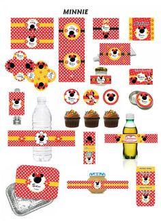 Rótulos Personalizados - Minnie Vermelha Birthday Party Themes, 2nd Birthday, Minnie Mouse, Mikey Mouse, Glass Centerpieces, Disney Theme, Projects To Try, Printables, Kids Rugs