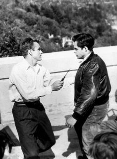 """thelittlefreakazoidthatcould: """" James Dean and Corey Allen during the filming of Rebel Without a Cause, 1955. """""""