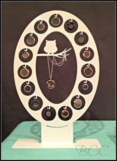 15 Locket Owl Display, Large O  (Black ONLY)