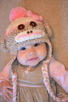 Girl Sock Monkey Hat with Flower and Top by HotOffTheHookCrochet, $27.00