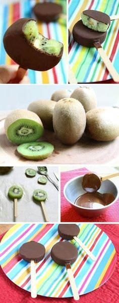 Dessert For A Hot Summer Day: Chocolate Kiwi Popsicles (healthy summer snacks) Healthy Desserts, Fun Desserts, Delicious Desserts, Dessert Recipes, Kiwi Recipes, Delicious Chocolate, Summer Desserts, Snacks Recipes, Summer Fruit