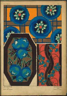 Three floral designs Creator: Séguy, E. A. -- Artist Pochoir prints Item/Page/Plate: Pl. n° 1 Source: Suggestions pour étoffes et tapis : 60 motifs en couleur. Source Description: 2 l. 20 col'd pl. fol. [42.5 x 29.5 cm.] Location: Stephen A. Schwarzman Building / Art and Architecture Collection, Miriam and Ira D. Wallach Division of Art, Prints and Photographs Catalog Call Number: MON++ (Seguy, E. A. Suggestions pour etoffes et tapis) Digital ID: 96536
